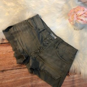 Free People Distressed Frayed Jean Shorts